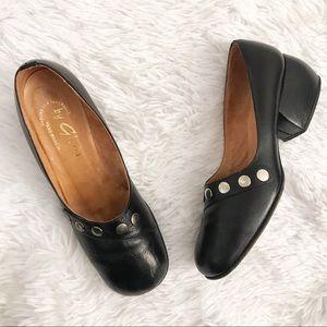 Vintage Leather Chunky Heel Handmade Shoes